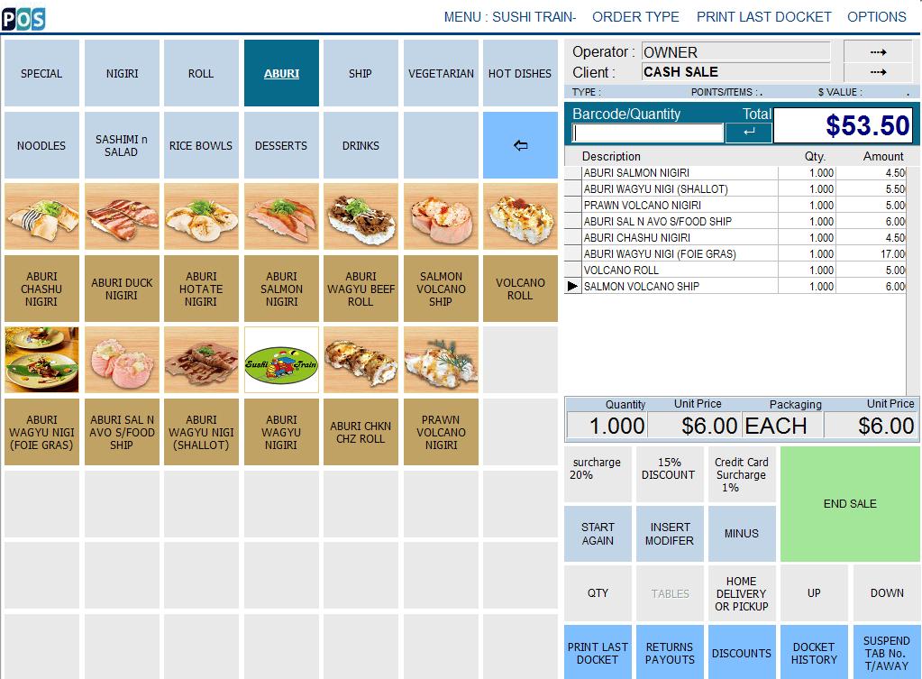 Sushi Restaurant Point of Sale Sydney
