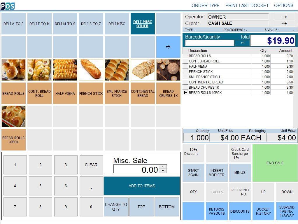 continental delicatessen deli pos software bread rolls