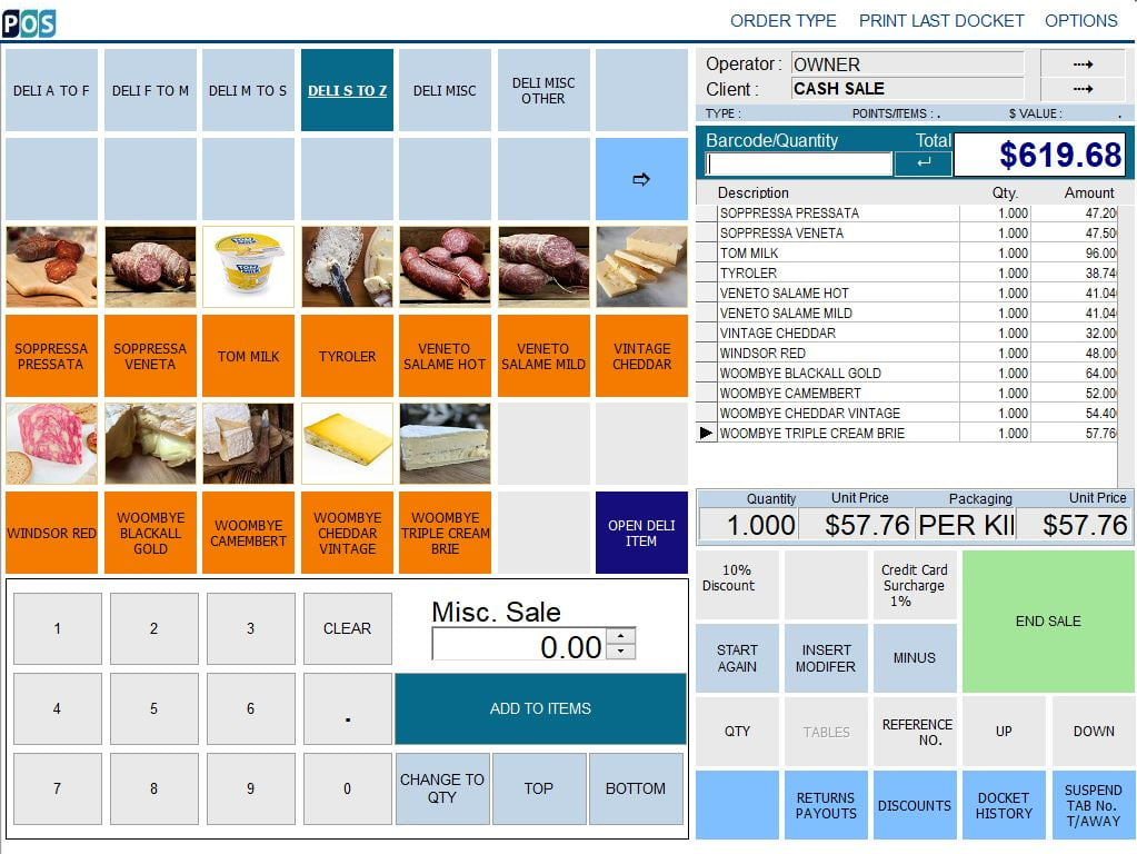 continental delicatessen deli pos software cheddar and milk