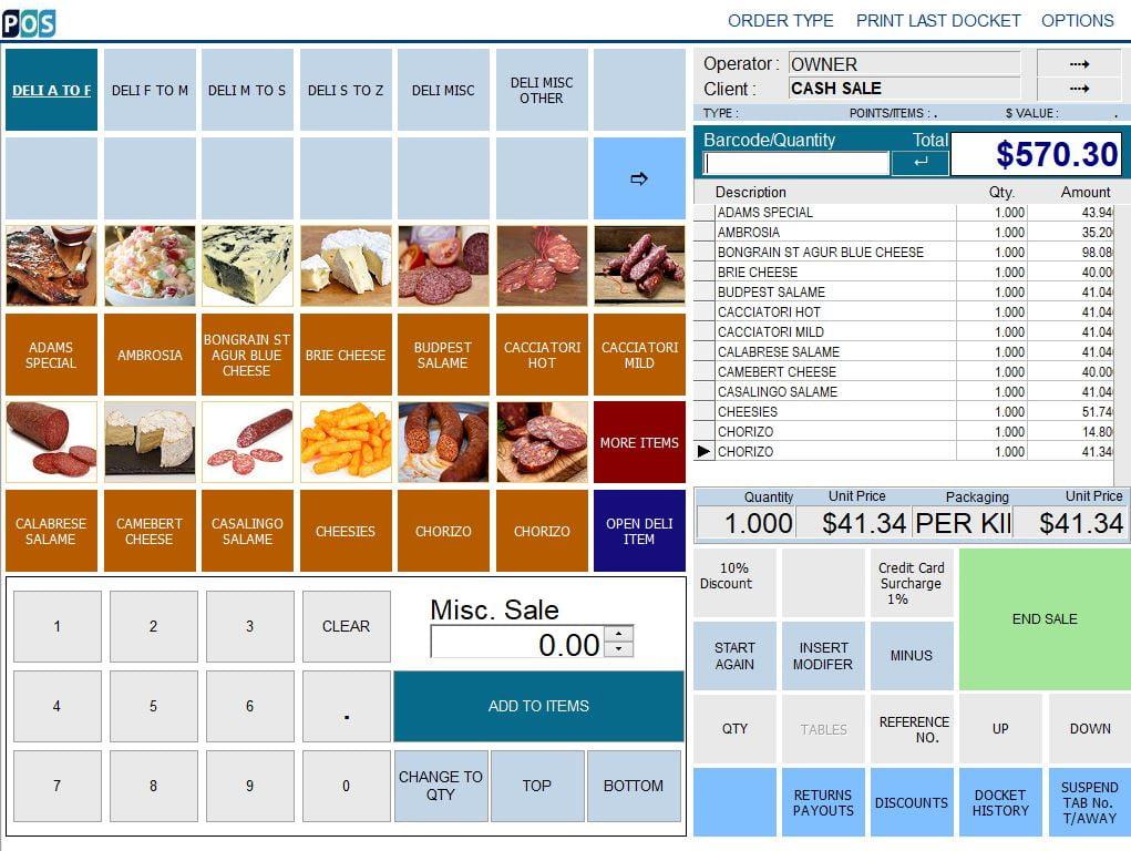 continental delicatessen deli pos software salami and cheese