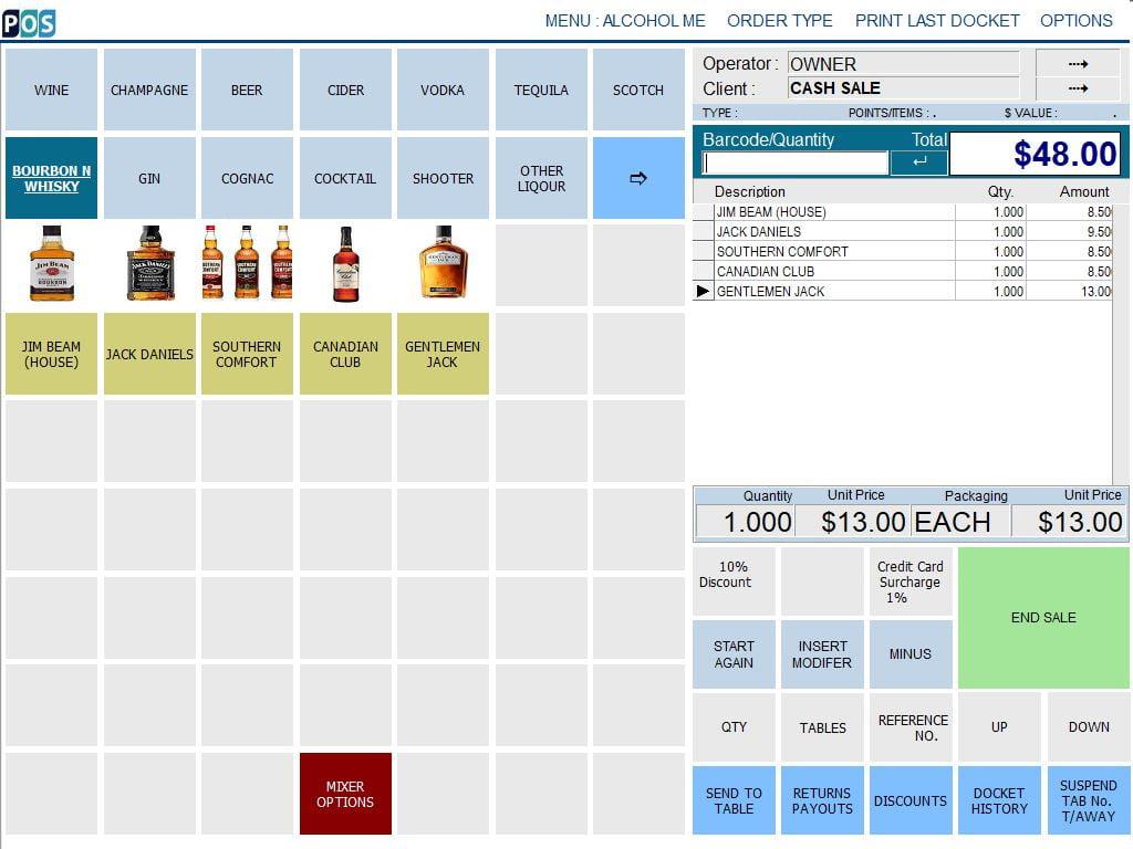 pub bar bottle shop liquor store pos software bourbon and whisky