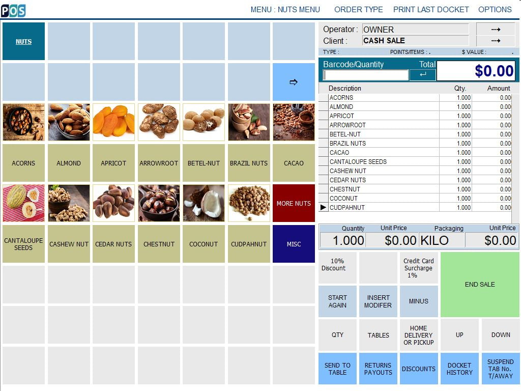 spice and nut shop pos software dried fruit