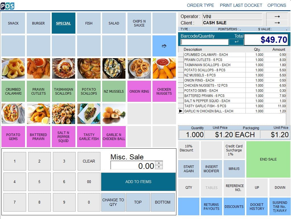 fish and chip takeaway shop pos software fish special