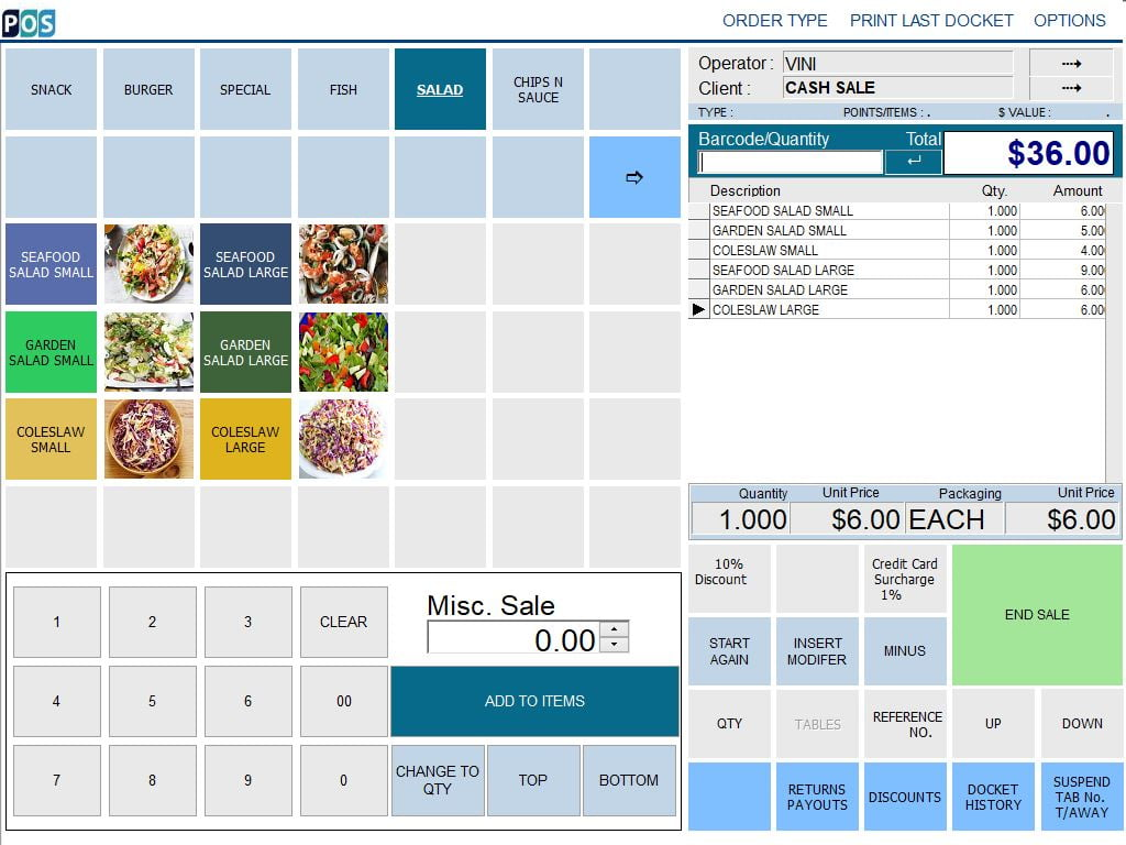fish and chip takeaway shop pos software salad and fish