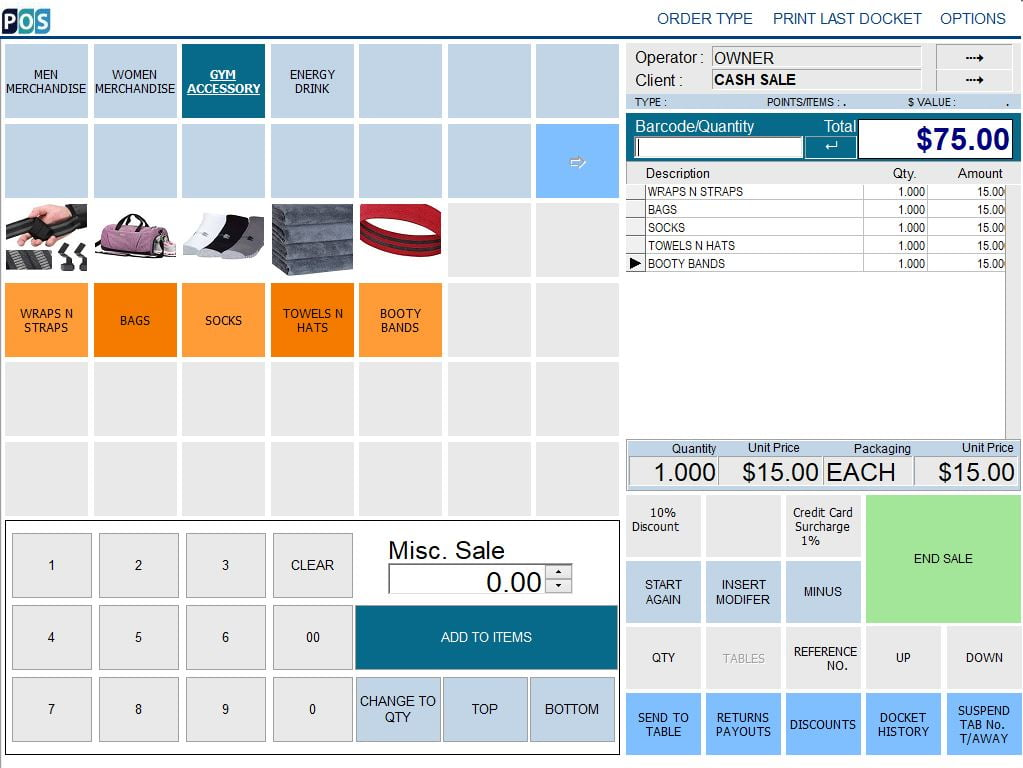 gym fitness management pos system software accessory