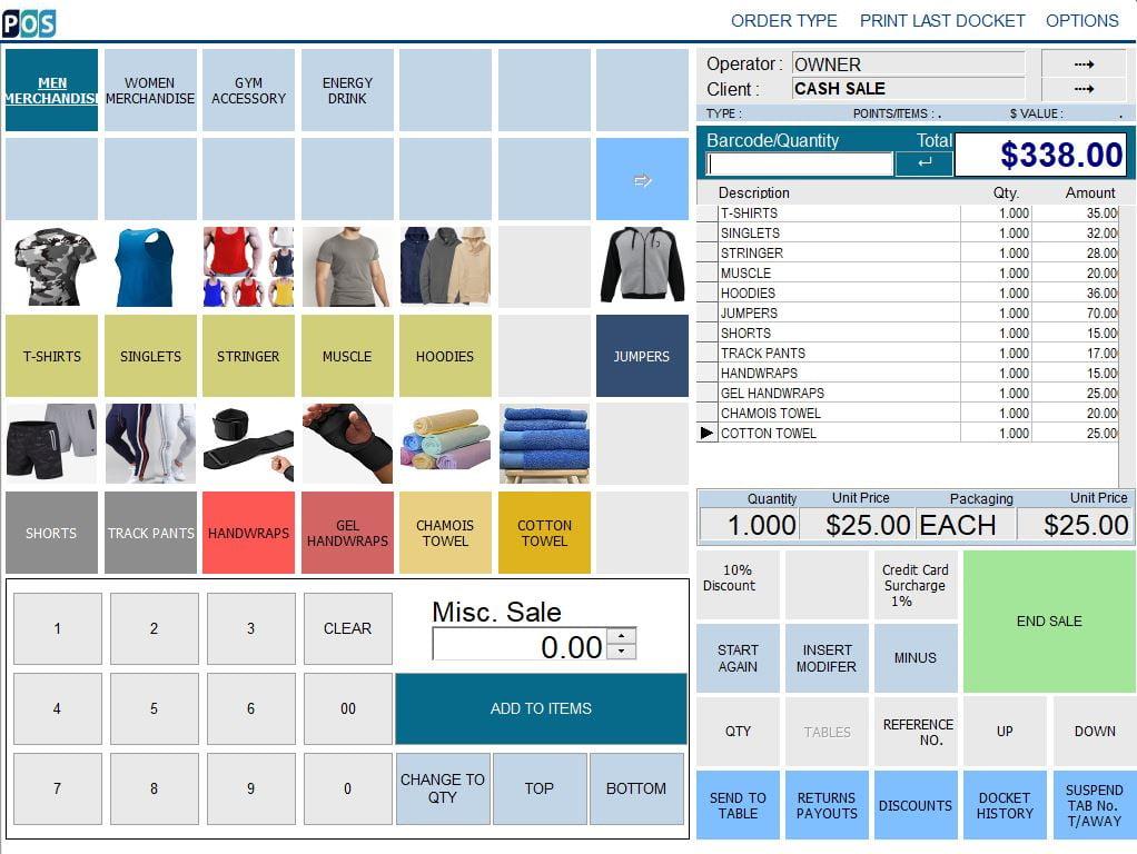 gym fitness management pos system software men merchandise
